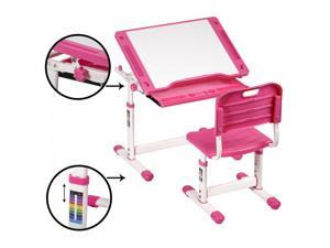Pink Adjustable Children's Desk Chair Set Child Study Desk Kids Study Table XLQ