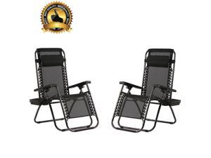 Zero Gravity Chairs Set of 2 Patio Adjustable Reclining Folding Chairs w/ Pillow