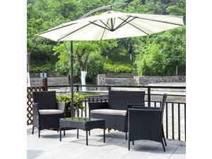 Patio Wicker Furniture Outdoor 4pc Rattan Sofa Garden Conversation Set