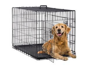 """Dog Crate Extra Large Double Door Folding Dog Cage Pet Crate w/Divider & Tray ,42"""""""