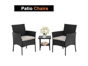 Patio Furniture Sets 3 Pieces Outdoor Bistro Set Rattan Chairs Wicker Conversation Sets with Table Outdoor Garden Furniture Sets,Black