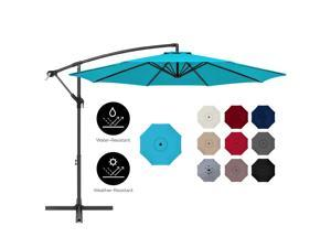 Best Choice Products 10ft Offset Hanging Outdoor Market Patio Umbrella w/ Easy Tilt Adjustment - Sky Blue