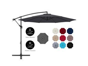 Best Choice Products 10ft Offset Hanging Outdoor Market Patio Umbrella w/ Easy Tilt Adjustment - Gray