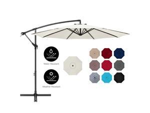 Best Choice Products 10ft Offset Hanging Outdoor Market Patio Umbrella w/ Easy Tilt Adjustment - Cream
