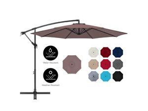 Best Choice Products 10ft Offset Hanging Outdoor Market Patio Umbrella w/ Easy Tilt Adjustment - Deep Taupe