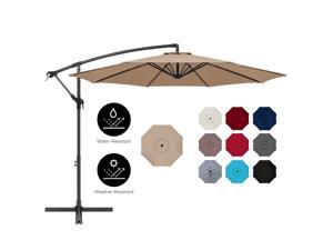 Best Choice Products 10ft Offset Hanging Outdoor Market Patio Umbrella w/ Easy Tilt Adjustment - Tan