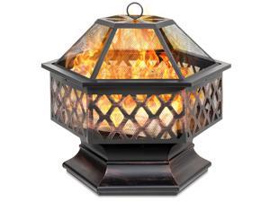 Best Choice Products 24in Hex-Shaped Steel Fire Pit for Garden, Backyard, Poolside w/ Flame-Retardant Mesh Lid