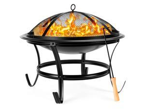 Best Choice Products 22in Steel Outdoor Fire Pit Bowl BBQ Grill w/ Screen Cover, Log Grate, Poker for Camping, Bonfire