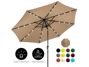 Best Choice Products 10ft Solar LED Lighted Patio Umbrella w/ Tilt Adjustment, Fade-Resistant Fabric - Tan