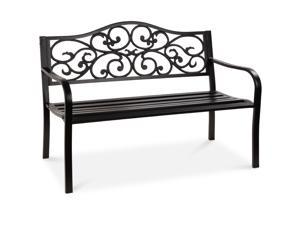 Best Choice Products 50in Classic Steel Patio Garden Bench for Yard, Porch w/ Decorative Floral Scroll Design - Black