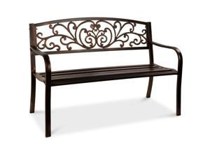 Best Choice Products 50in Steel Garden Bench for Outdoor, Porch, Patio Furniture Chair w/ Floral Design Backrest - Brown