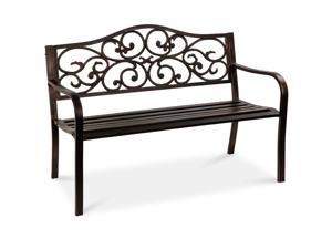 Best Choice Products 50in Classic Steel Patio Garden Bench for Yard, Porch w/ Decorative Floral Scroll Design - Bronze