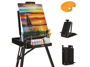Best Choice Products Portable Wooden Folding French Easel Adjustable Sketch Box Tripod w/ Drawer, Pallet, Handle- Black