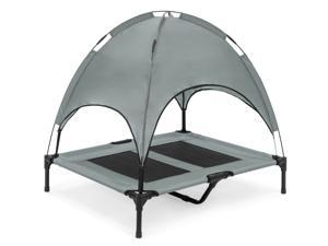 Best Choice Products 36in Outdoor Raised Mesh Cot Cooling Dog Pet Bed w/ Removable Canopy, Travel Bag - Gray