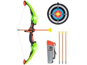 Best Choice Products 24in Light Up Kids Archery Toy Play Set w/ 3 Light Modes, Suction Arrows, Quiver, Target - Green