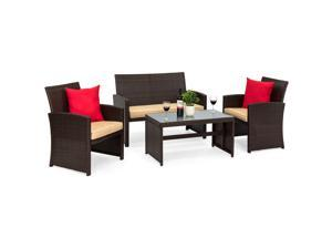 54e86cace03 Best Choice Products 4-Piece Wicker Patio Furniture Set w  Tempered Glass