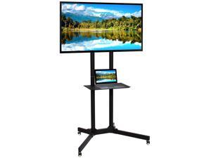Best Choice Products Flat Panel Steel Mobile TV Media Stand for 32-65in Screens w/ Lockable Wheels, Front Shelf - Black
