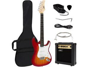 Best Choice Products 39in Full Size Beginner Electric Guitar Starter Kit w/ Case, Strap, 10W Amp, Tremolo Bar - Sunburst