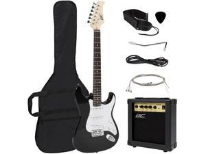 Best Choice Products 39in Full Size Beginner Electric Guitar Starter Kit w/ Case, Strap, 10W Amp, Tremolo Bar - Black