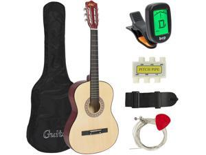 Best Choice Products 38in Beginner Acoustic Guitar Starter Kit w/ Case, Strap, Tuner, Pick, Strings - Natural