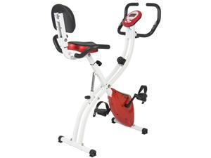 Best Choice Products Folding Upright Exercise Cycling Bicycle for Cardio w/ Resistance Knob, Adjustable Height - Red