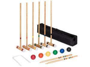 Best Choice Products 6-Player 32in Yard Classic Wood Croquet Sport Game Set w/ 6 Mallets, 6 Balls, Wickets, Stakes, Bag