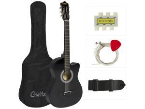 Best Choice Products 38in Beginner Acoustic Cutaway Guitar Set w/ Extra Strings, Case, Strap, Tuner, and Pick - Black