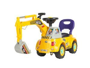 Best Choice Products Kids Excavator Construction Digger Ride On Truck w/ Gardener Set, Music, Lights, Storage - Yellow