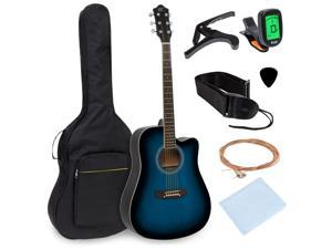 Best Choice Products 41in Full Size Beginner Acoustic Cutaway Guitar Set w/ Case, Strap, Capo, Strings, Tuner - Blue