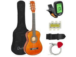 Best Choice Products 30in Kids Classical Acoustic Guitar Beginners Set w/ Carry Bag, Picks, E-Tuner, Strap - Brown