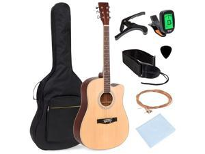 Best Choice Products 41in Full Size Beginner Acoustic Cutaway Guitar Set w/ Case, Strap, Capo, Strings, Tuner - Natural