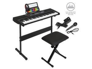 Best Choice Products 61-Key Beginner Electronic Keyboard Piano Set w/ 3 Teaching Modes, Stand, Stool, Headphones