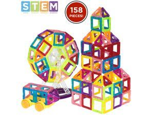 Best Choice Products 158-Piece Kids Mini Clear Magnetic Building Block Tile Toy Set for Education, STEM - Multicolor