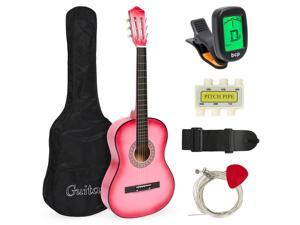 Best Choice Products 38in Beginner Acoustic Guitar Starter Kit w/ Case, Strap, Tuner, Pick, Strings - Pink
