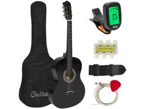 Best Choice Products 38in Beginner Acoustic Guitar Starter Kit w/ Case, Strap, Tuner, Pick, Strings - Black