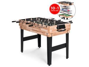 Best Choice Products 2x4ft 10-in-1 Combo Game Table Set w/ Pool, Foosball, Ping Pong, Hockey, Bowling, Chess, and More
