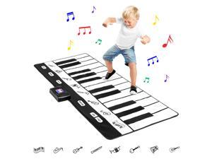 Best Choice Products 71in Giant Heavy-Duty Vinyl 24-Key Piano Keyboard Music Playmat w/ 8 Instrument Settings - Black