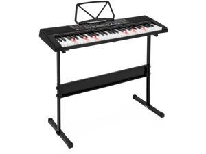 Best Choice Products 61-Key Teaching Electronic Keyboard w/ Light-Up Keys, Adjustable H-Stand - Black