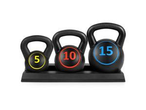 Best Choice Products 3-Piece HDPE Kettlebell Exercise Fitness Weight Set w/ Base Rack, 5lb, 10lb, 15lb Weights
