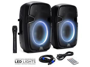 Best Choice Products 2000W Dual 2-Way Full Range Wireless Speakers, Portable PA System w/ 12in Woofers, Mic, Remote