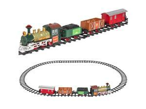 Best Choice Products Kids Classic Electric Railway Train Car Track Play Set Toy w/ Music, Lights