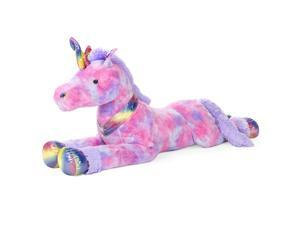 Best Choice Products Kids Extra Large Plush Unicorn, Life-Size Stuffed Animal Toy w/ Rainbow Details, Tie-Dye Fur - 52in