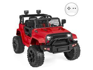 Best Choice Products 12V Kids Ride On Truck Car w/ Parent Remote Control, Spring Suspension, LED Lights - Red