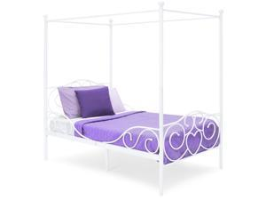 Best Choice Products 4 Post Metal Canopy Twin Bed Frame w/ Heart Scroll Design, Slats, Headboard, and Footboard - White