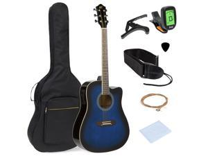 Best Choice Products 41in Full Size Acoustic Electric Cutaway Guitar Set w/ Capo, E-Tuner, Bag, Picks, Strap - Blue