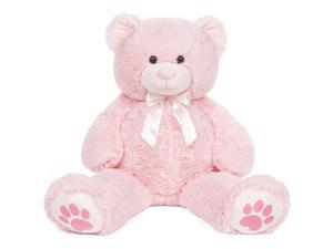 Best Choice Products 38in Giant Soft Plush Teddy Bear Stuffed Animal Toy w/ Red Bow Tie, Footprints - Pink