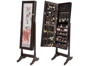Best Choice Products Mirrored Cabinet Jewelry Armoire w/ 6 Shelves, Stand Rings, Necklaces Hooks, Bracelet Rod - Brown
