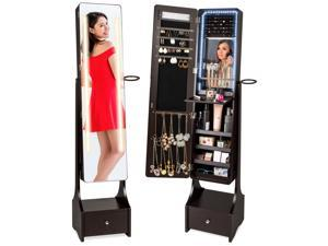 Best Choice Products Full Length LED Mirrored Jewelry Storage Organizer Cabinet w/ Interior & Exterior Lights - Brown
