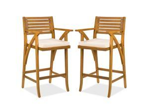 Best Choice Products Set of 2 Outdoor Acacia Wood Bar Stools Bar Chairs w/ Weather-Resistant Cushions - Teak Finish