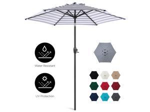 Best Choice Products 7.5ft Heavy-Duty Outdoor Market Patio Umbrella w/ Push Button Tilt, Easy Crank Lift - Navy Stripe
